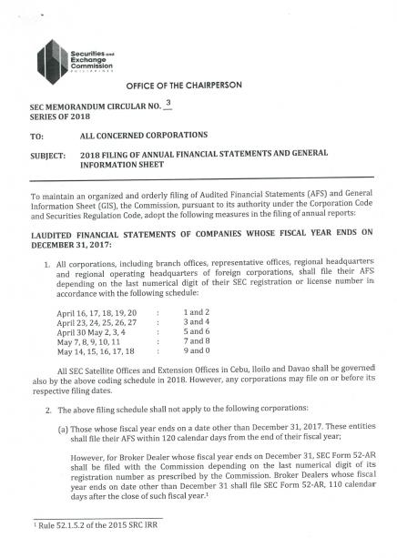 2018 filing of annual financial statements and general information