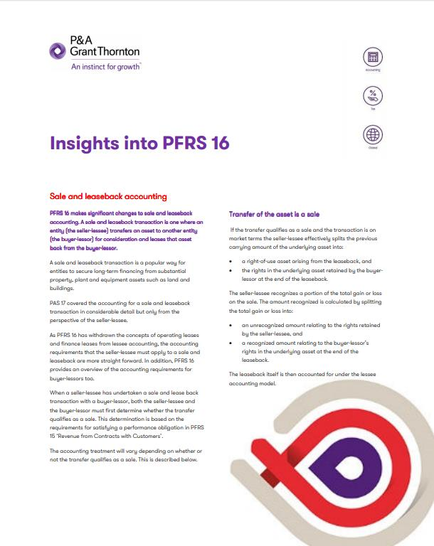 Insights Into PFRS 16 Sale And Leaseback Accounting Grant